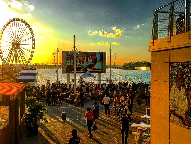Crowds gathered at sunset at the National Harbor Waterfront
